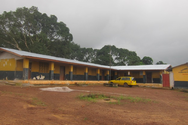 Front view of reroofed Dominic school