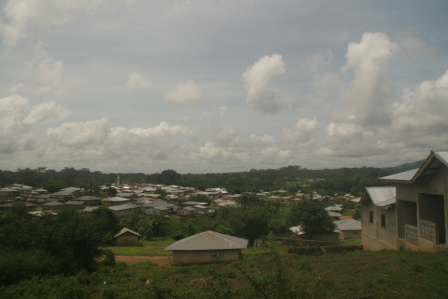Aerial view of Bakadu - a quarantine town of  7000 inhabitants