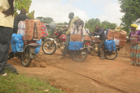 Havily loaded motor cycles arrived with anti ebola materials in hard to reach affected community