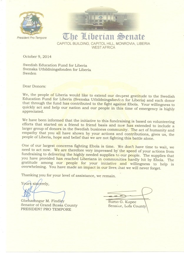 Letter from Senator in Grand Bassa