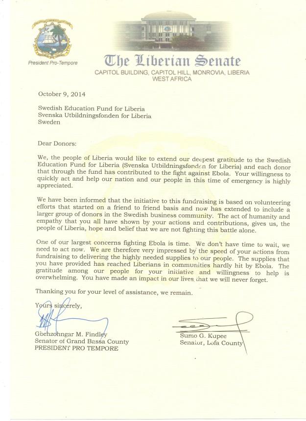 Letter from Senator in Grand Bassa