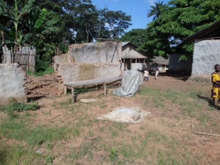 shatter home of a family of 10 lost all of its inhabitants to ebola in Zango's Town, Voinjama  District