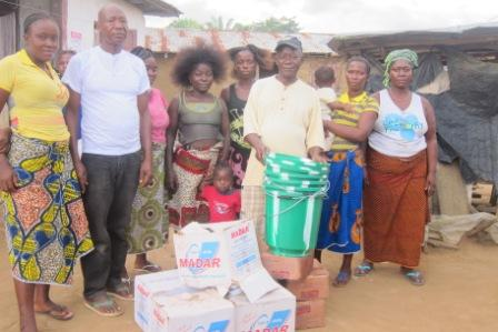 Ebola victims  in Kpakala community receive anti Ebola materials