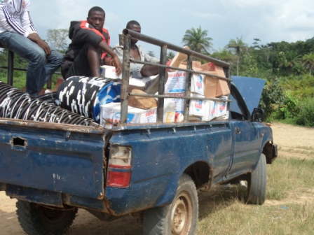 Hire vehicle breaks down in route to hard to reach ebola hit town of Worhn in Gibi
