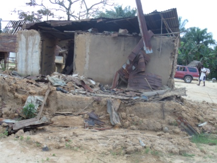 Shartter Home of the first  Ebola victim in Blokorleh, the late Ma Nyenkoley who died along with her four children