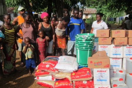 Up-Town community receive supply after losing 1 to ebola and are now been  observed by  County Health Team to avoid further spread