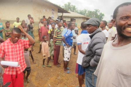 ebola victims  in Bohey  garther to receive donation